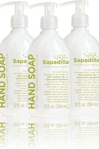 Sapadilla Rosemary + Peppermint Biodegradeable Liquid Hand Soap Pump, 12 Ounce, (Pack of 3)