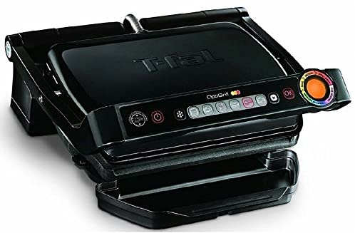 T-fal GC702853 OptiGrill Indoor Electric Grill with Removable and Dishwasher Safe Plates, 1800W, Black