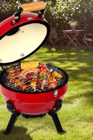 TUSY Ceramic Griller Charcoal Grill Advanced Portable Red, 12-Inch Foldable Barbecue Grilling Charcoal Oven with Digital Thermometer