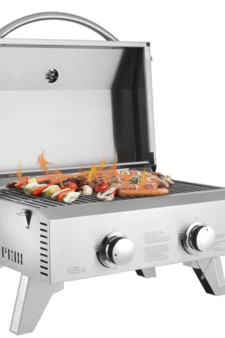 Tabletop Gas Grill 2-Burner Stainless Steel 2-Burner Gas Grill 2 Independently Adjustable Burners Portable Tabletop 20,000 BTU BBQ Grid with Buckles & Foldable Legs for Outdoor Camping Picnic, Silver