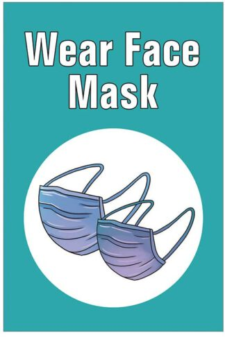 "Tamengi Wear Face Mask, Alumium Metal Warning Sign, Public Place Notice Prevent COVID-19, 8"" X 12"" Made in USA"