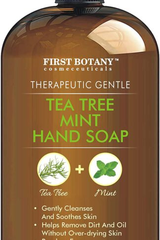 Tea Tree Mint Hand Soap - Liquid Hand Soap with Peppermint, Jojoba and Coconut Oil - Multipurpose Liquid Soap in Pump Dispenser - Natural Bathroom Soap & Liquid hand wash - 16 fl oz by First Botany