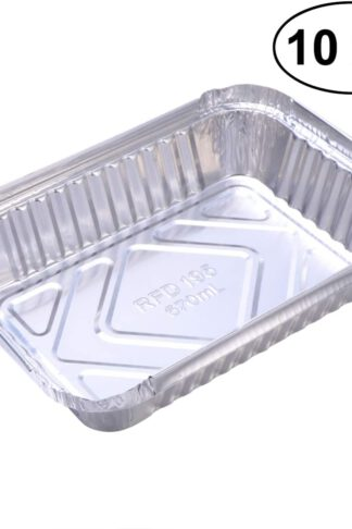 Yarnow 10 Pack Aluminum Foil Drip Pans, Disposable Aluminum Foil BBQ Grease Pans, Grill Drip Pan Liners to Catch Grease
