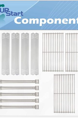 "5 BBQ Grill Heat Shield Plate Tent & 5 Tube Burner & 3 Cooking Grates Replacement Parts for Jenn Air 720-0720 - Old - Compatible Barbeque Grid & Stainless Steel Flavorizer Bar 16 1/8"" & Pipe Burners"