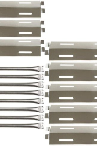Hisencn 8Pack Repair Kit Stainless Steel Grill Burners, Heat Plates, Heat Shield Replacement for Bakers and Chefs GR2039201-BC-00, GD430, ST1017-012939, Grill Chef, Members Mark Gas Grill Models