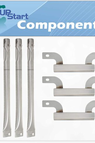 UpStart Components 4 BBQ Gas Grill Tube Burner & 3 Crossover Tube Replacement Parts for Brinkmann 810-2411-S - Compatible Barbeque Stainless Steel Pipe Burners & Carry Over Channel Tube