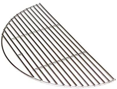 Aura Outdoor Products Stainless Half Moon Grill Grate for Large Big Green Egg, Kamado Joe, Vision Grill and More