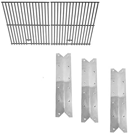 bbqGrillParts Repair Replacement Kit for Mission BG1764B-A, BG1764B-B, BH13-101-099-02, BG1455B, BG1755B, Includes 3 Heat Plates and Solid Stainless Steel Cooking Grids, Set of 2