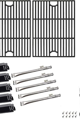 "SafBbcue 17"" Cast Iron Grates and Heat Plates Burners for Home Depot Nexgrill 720-0830H, 720-0670A, 720-0783E, 720-0888N, Kenmore 41516106210 415.16106210 Gas Grill"