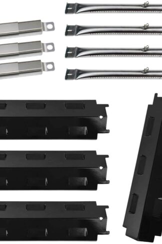 BBQ-Element Grill Heat Plate Tent Shield, Pipe Burner Tubes and Crossover Tube Replacement Kit for Charbroil 463434313, 463439915, 463335014, 463436813, 463322613 Gas Grill Models