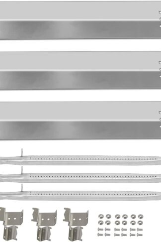 Gas Grill Burner and Heat Shield Stainless Steel BBQ Repair Kit Replacement for Chargriller 5050, 5060 Duo Gas Charcoal 3001, 3008, 3030, 4000, 4208, 5072, 5252 Models 3-pack Heat Plates, Pipe Tube