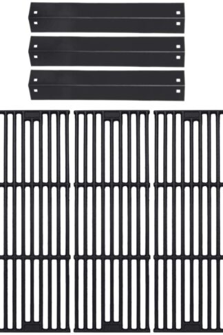 GasSaf Parts Kit Replacement for Chargriller 3001, 3008, 3030, 4000, 4208, 5050, 5252, King Griller 3008 5252, 3-Pack Porcelain Steel Heat Plates + 3-Pack Cast Iron Cooking Grid