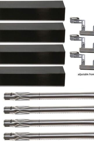 Hisencn Repair KIT Parts Grill Burner Tube, Porcelain Heat Plate Tent, Adjustable Carry Over Tubes Replacement for Brinkmann 4 Burner 810-2410-S, 810-1420-0, 810-1420-1, 810-1470-0 Gas Grill Models