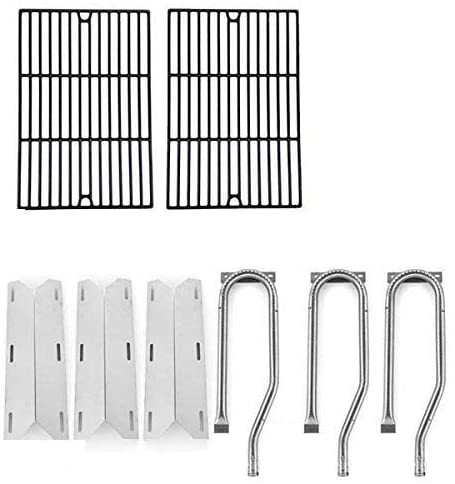 Repair Kit for Jenn Air 720-0336, 7200336, 720 0336 BBQ Gas Grill Includes 3 Stainless Burner, 3 stainless Heat Plates and Porcelain Cast Cooking Grates