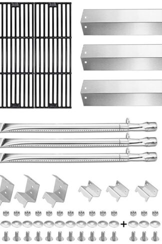Searglow Replacement Parts Kits for Chargriller 3001 3008 3725 3030 4000 5050 5252 King Griller 3008 5252 Stainless Steel Grill Burner Heat Plates Porcelain Cast Iron Cooking Grates Hanger Brackets