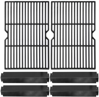 Hongso Porcelain Cast Iron Cooking Grid Grill Grates and Steel Heat Plates Replacement Kit for Charbroil 463268008 463244011 463212511 463224611, Kenmore 415.166579, Uniflame Gas Grill, PCF652-PPC3214