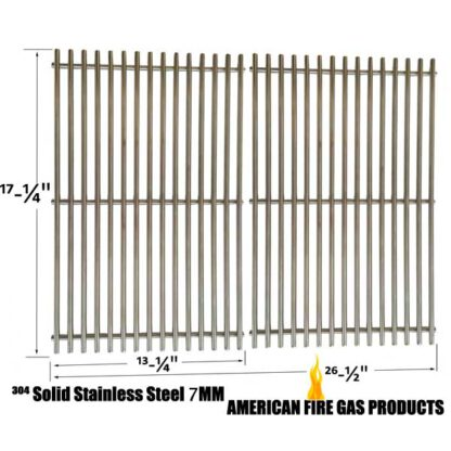 2 PACK REPLACEMENT SOLID STAINLESS STEEL COOKING GRATES FOR CHARBROIL 463411512, 463411712, 463411911, C-45G4CB AND MASTER FORGE 1010037 GAS GRILL MODELS