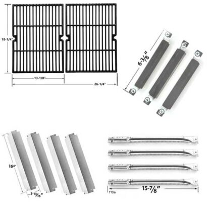 REPLACEMENT KIT INCLUDES 4 STAINLESS STEEL BURNERS, 4 STAINLESS HEAT PLATES, 3 CROSSOVER TUBES AND 2 PORCELAIN CAST COOKING GRATES FOR KENMORE 415.16942010 GAS GRILL MODELS