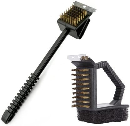 Grill Brush and Scrape,Grill Cleaning Brush 2 Set ,Stainless Steel Grill Brush,Barbecue Cleaning Tools,Head Nylon Bristle Grilling Brush, BBQ Copper Wire Brush for Grill, Grill Scraper for Grill
